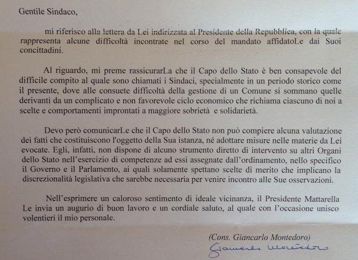 La deludente risposta del presidente MATTARELLA alla lettera del sindaco